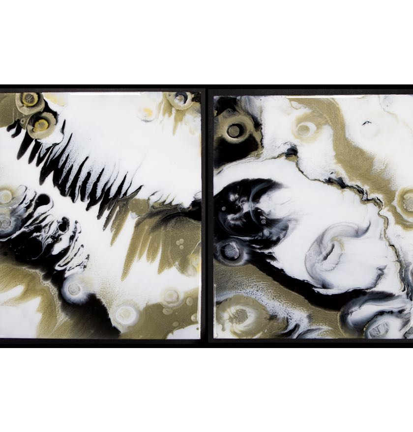 'Serendipity' Diptych Resin on Board<br/>Original: 100 x 60 cms Two pieces – £300<br/>For sale at Wood End Gallery Exhibition